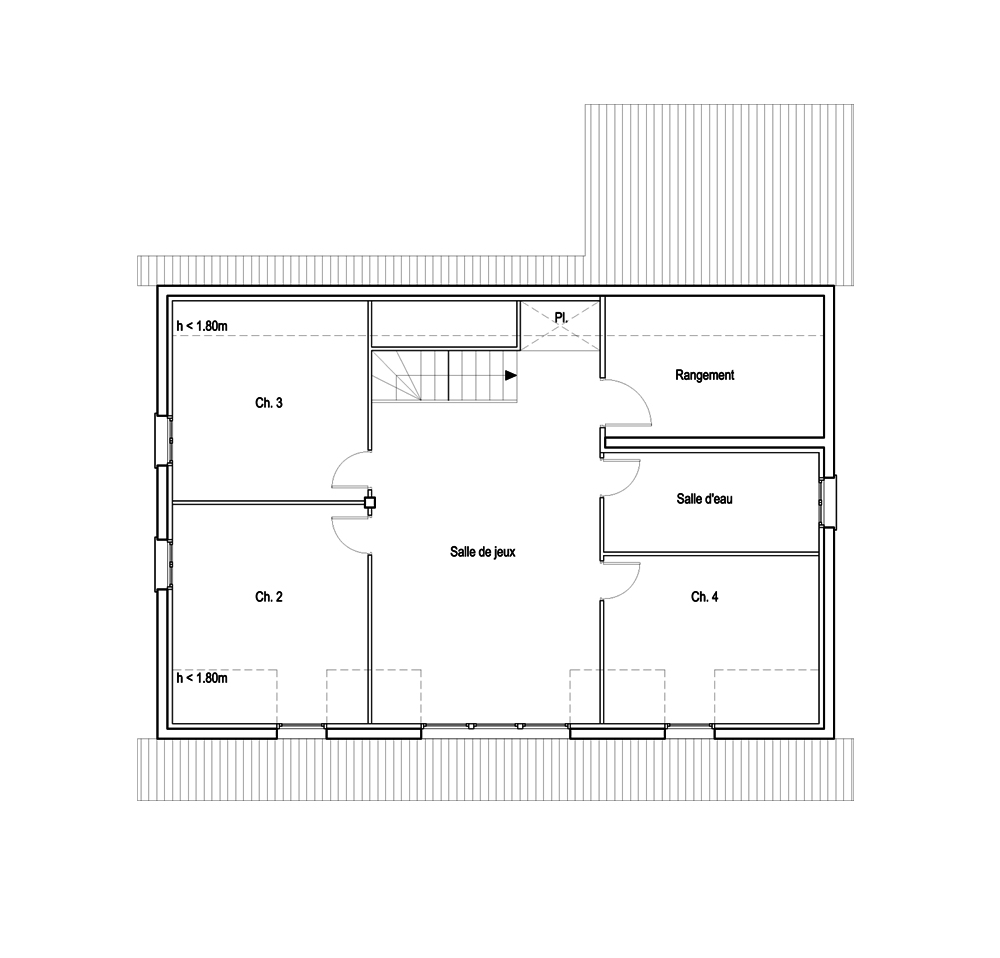 Plan appartement 60m2 3 chambres for Plan maison 60m2