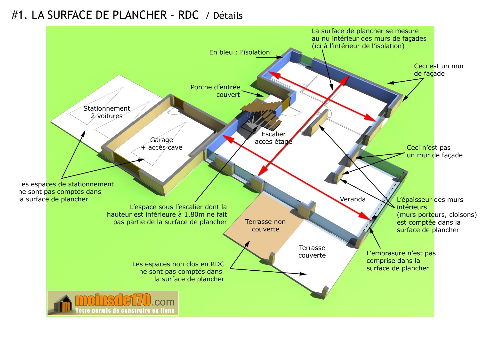 Surface dun plancher détaillée pour un rez de chaussée