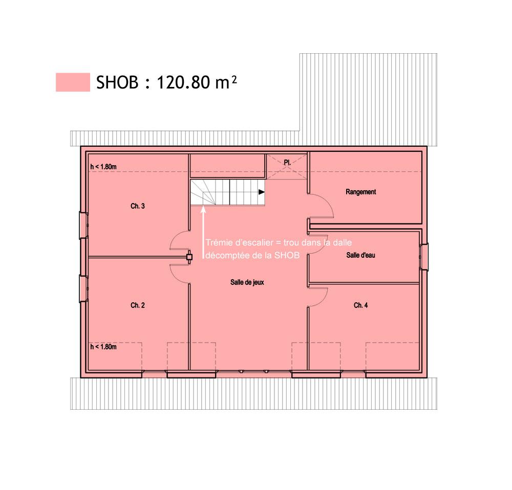Surface Standard Salle De Bain surfaces shob, shon et habitable - cas pratique en images