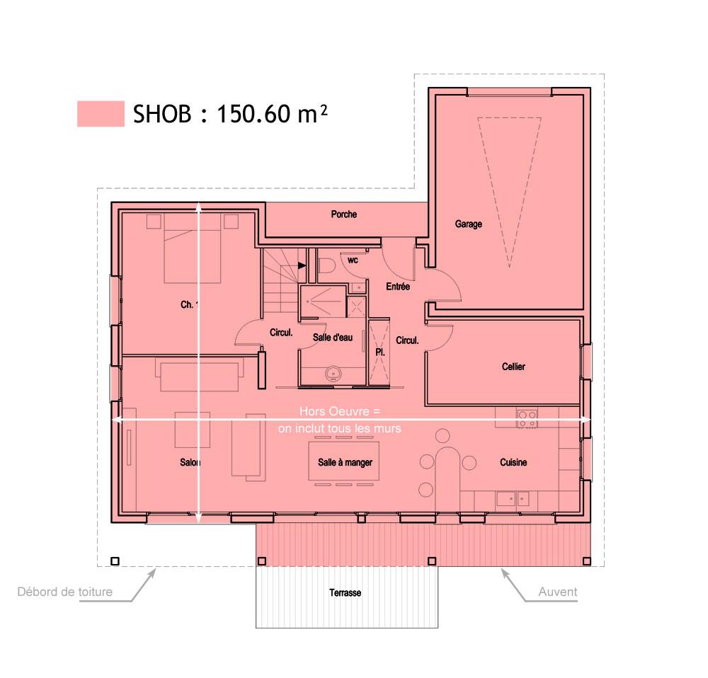 Superficie Minimum Salle De Bain surfaces shob, shon et habitable - cas pratique en images