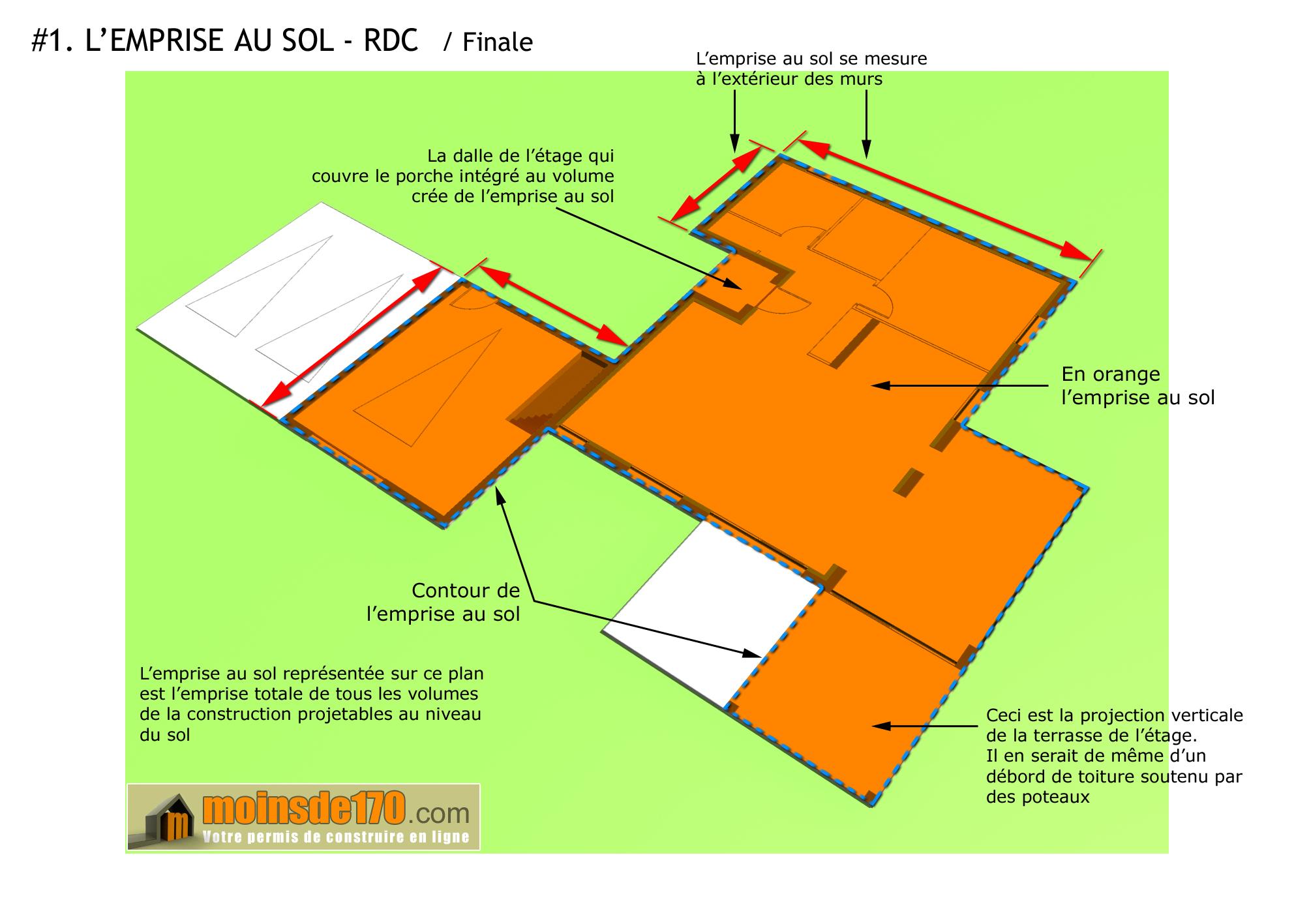 Couvrir Une Terrasse Permis De Construire l'emprise au sol illustrée sur un projet concret de maison