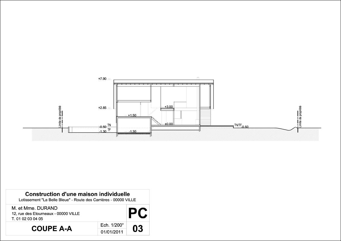 Exemple permis de construire mod le permis de construire for Plan de coupe de maison